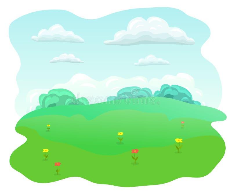 Enkel plan äng Sommarfält med röda och gula blommor blå himmel, vita moln, lycklig sommardag för grönt gräs stock illustrationer