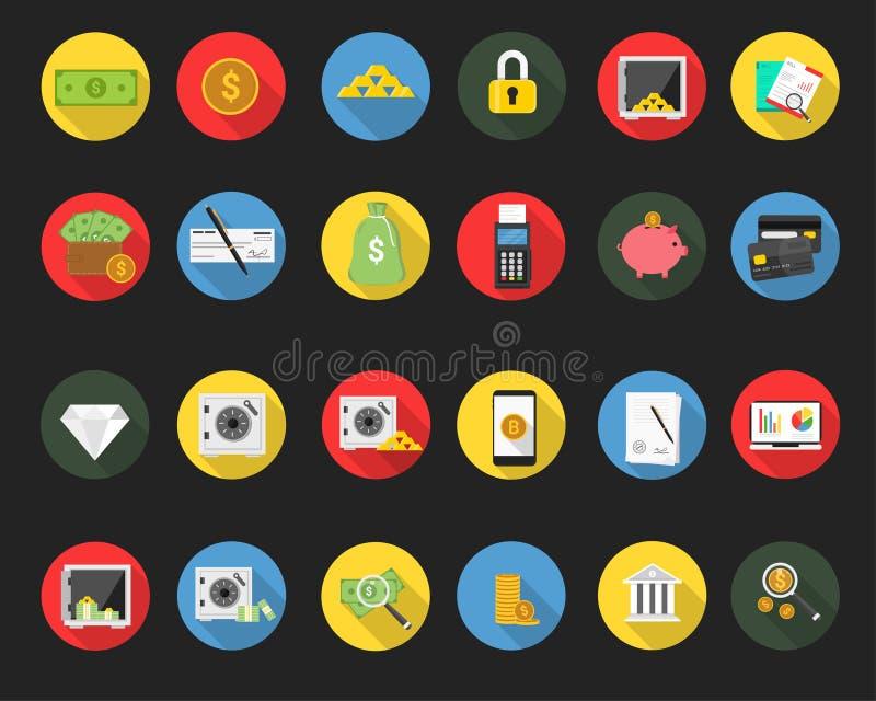 Enkel plan finanssymbolsuppsättning stock illustrationer