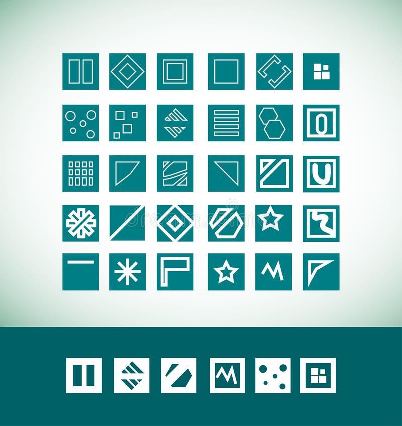 Enkel plan geometrisk symbolsuppsättning vektor illustrationer