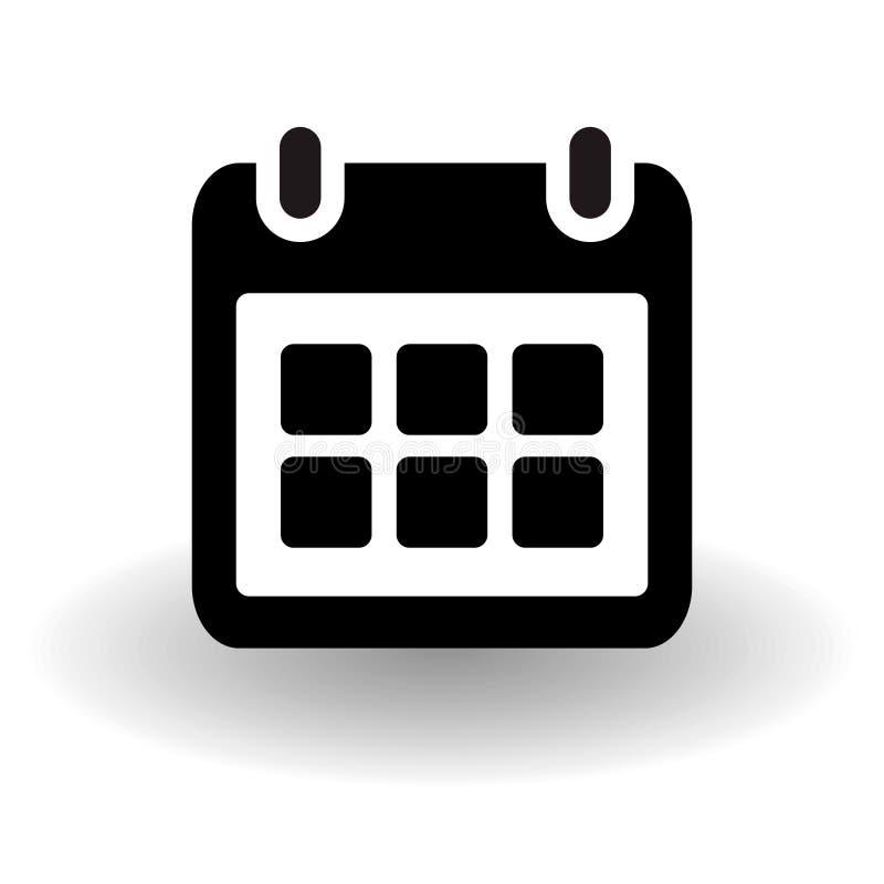 Enkel plan kalendersida, organisatör, vektorsymbol som är svartvit med vektorskugga, påminnelsehändelsebegrepp, eps 10 vektor illustrationer