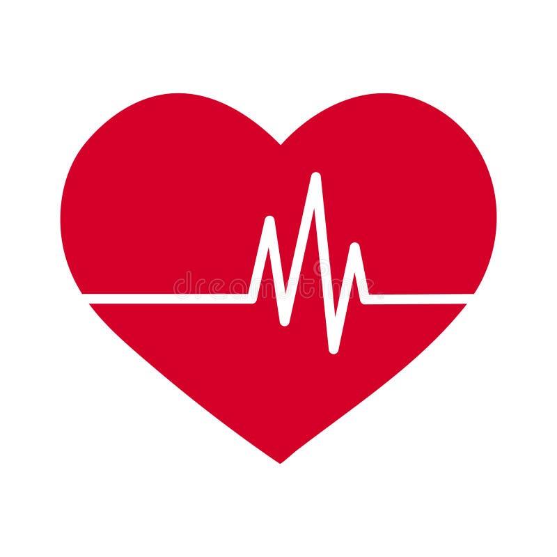Enkel plan röd hjärtasymbol för vektor med linjen för takt för ekgpulshaert stock illustrationer