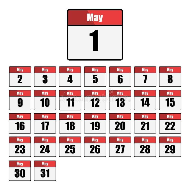Enkel, plan, röd och vit kalendersymbolsuppsättning för månaden av Maj En för varje dag Isolerat på vit royaltyfri illustrationer