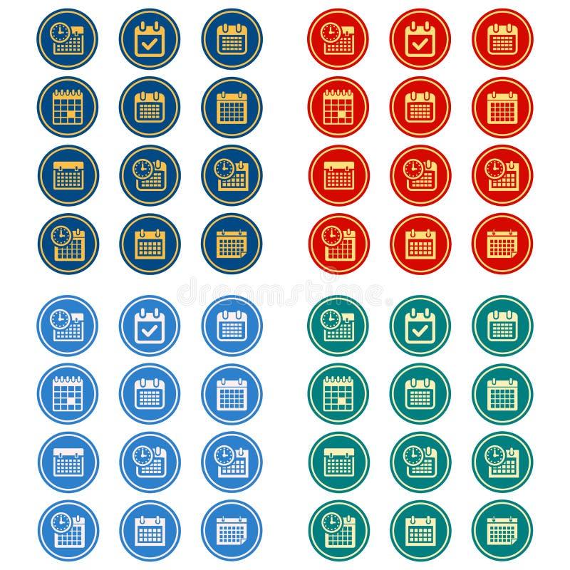 Enkel, plan rund kalendersymbolsuppsättning 12 symboler, 4 färgdesignvariationer royaltyfri illustrationer