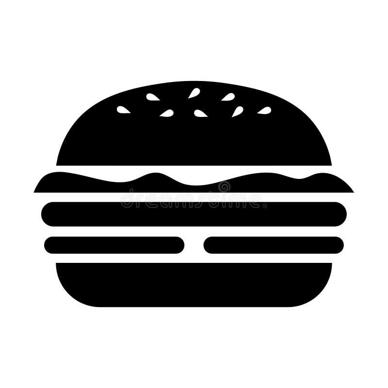 Enkel, plan svart hamburgarekontursymbol Isolerat på vit royaltyfri illustrationer