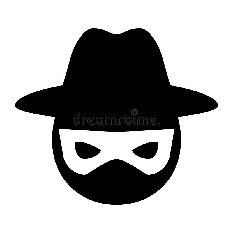 Enkel, plan svartvit en hackersymbol Head symbolshatt och maskering stock illustrationer