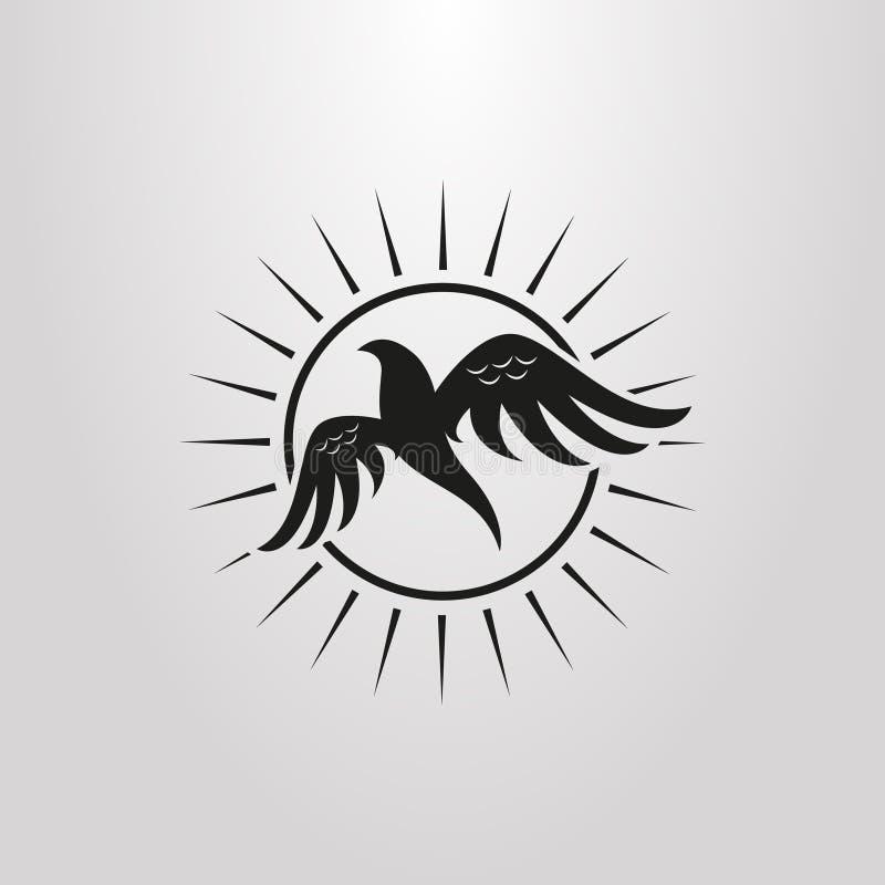 Enkel plan symbol för konstabstrakt begreppfågel på bakgrunden av solen stock illustrationer