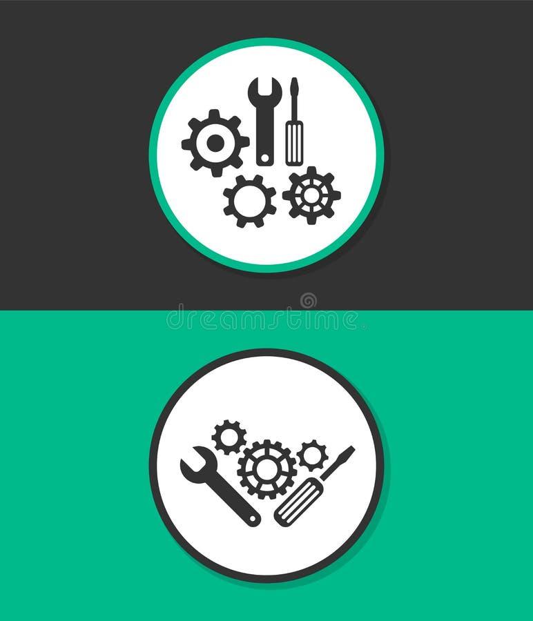 Enkel plan symbol Reparationshjälpmedelsymbol utför service symbolet Kugghjul, skruvmejsel och skiftnyckel royaltyfri illustrationer