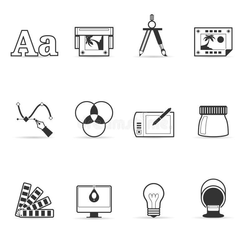 enkel printing för symboler för färgdesigndiagram vektor illustrationer