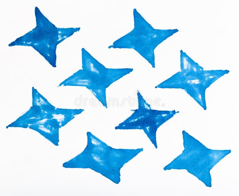 Enkel prydnad från fyra-pekade formade stjärnor vektor illustrationer