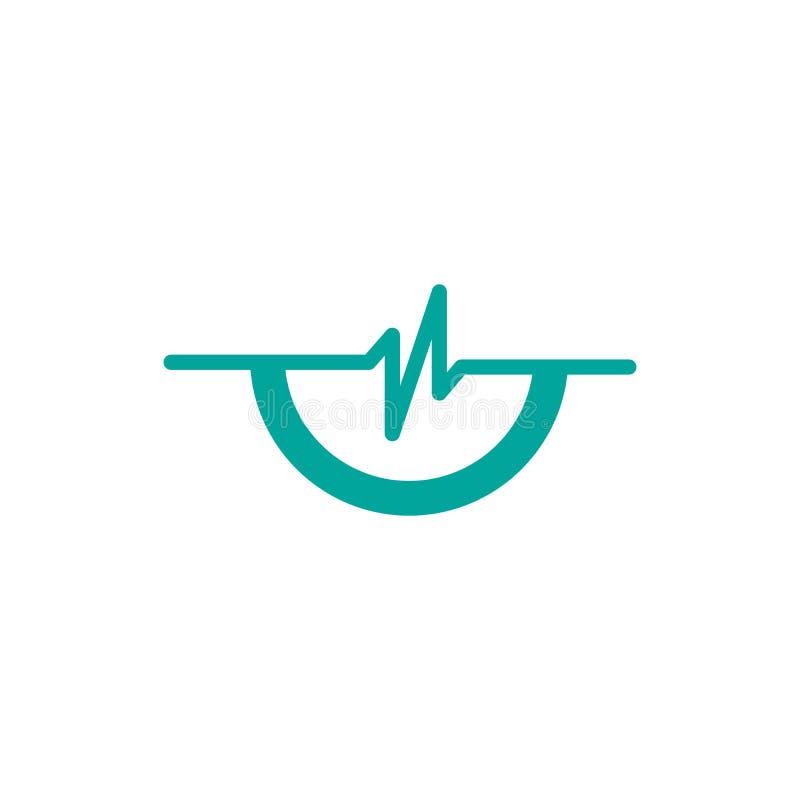 enkel puls med den halva cirkellogomallen, enkel mall för Healht omsorglogo, logodesign för vård- mitt, vektorillustration vektor illustrationer