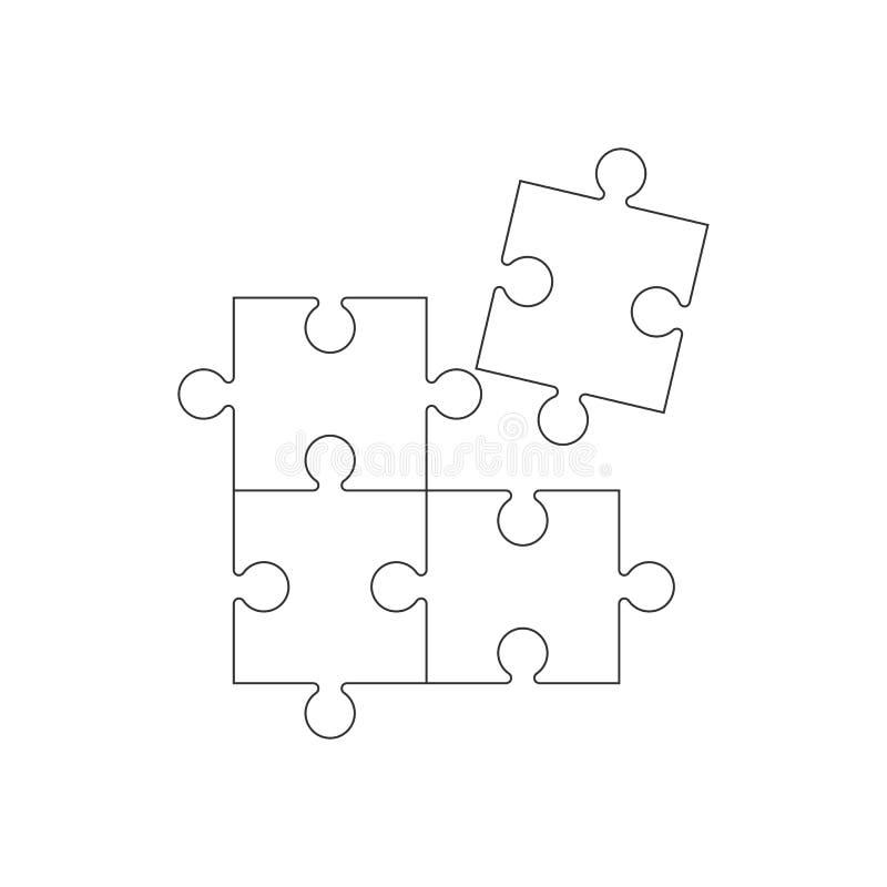 Enkel pusselsymbol Vektorillustration, lägenhetdesign royaltyfri illustrationer