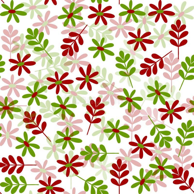 Enkel röd grön naturlig sömlös modell vektor illustrationer
