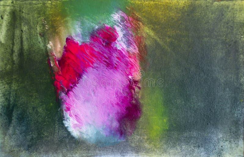 Enkel röd ros för abstrakt akrylmålningkonst på de-fokuserad utomhus- bakgrund arkivfoto