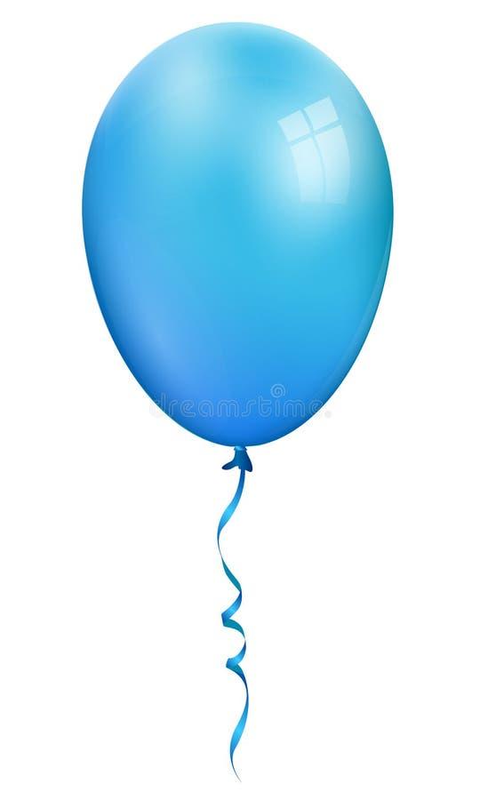 Enkel realistisk ballon för blått som 3d isoleras på vit bakgrund royaltyfri illustrationer