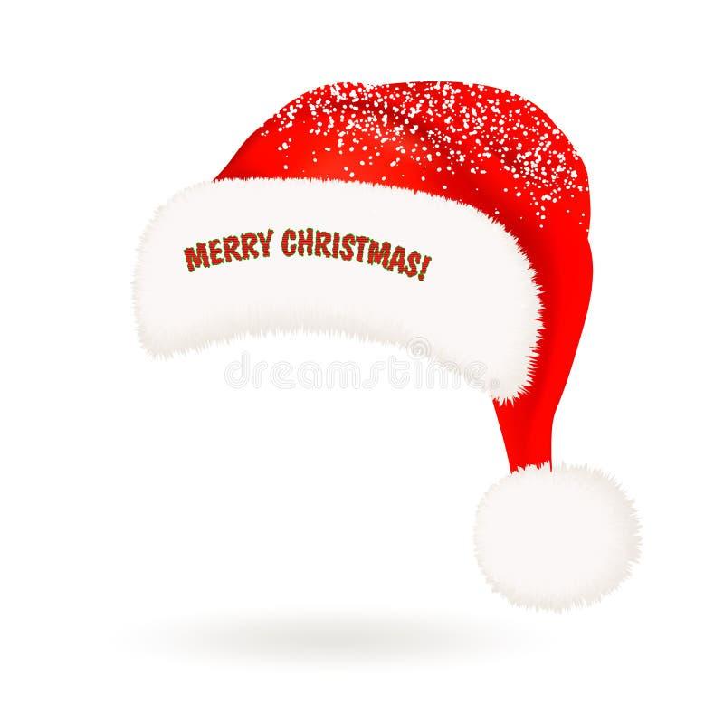 Enkel realistisk röd Santa Claus hatt med den fluffiga pomponen, snö och att hälsa för päls glad jul som isoleras på vit bakgrund royaltyfri illustrationer