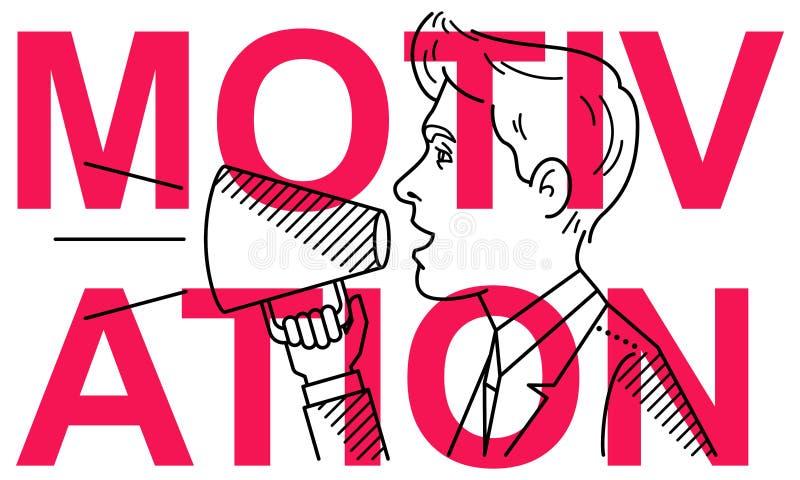 Enkel ren conceptional plan linje vektorillustration av mannen med megafonen på textMOTIVATION stock illustrationer
