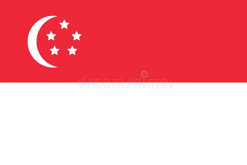 Enkel republik av Singapore den flagga isolerade vektorn vektor illustrationer