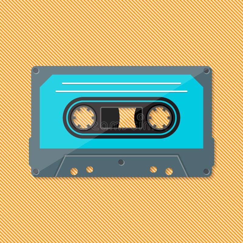 Enkel retro musiköverenskommelsekassett stock illustrationer