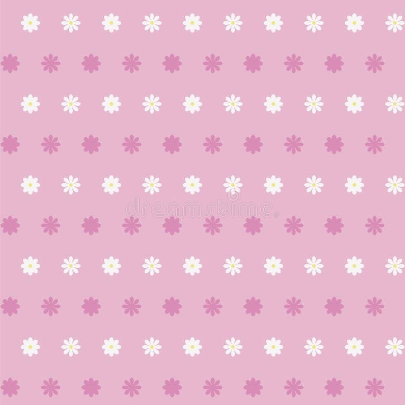 Enkel rosa vektorbakgrund med vita tusenskönor med en gul mitt av två sort- och mörkerrosa färgskuggor drar upp konturerna av ran royaltyfri illustrationer