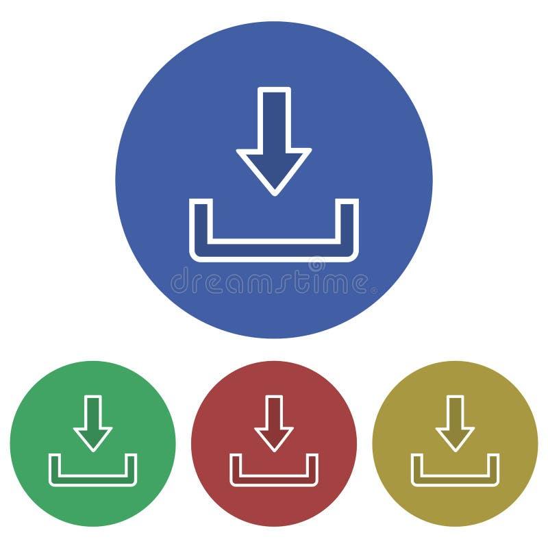 Enkel, rund plan nedladdningsymbol vit inramar Fyra färgvariationer stock illustrationer