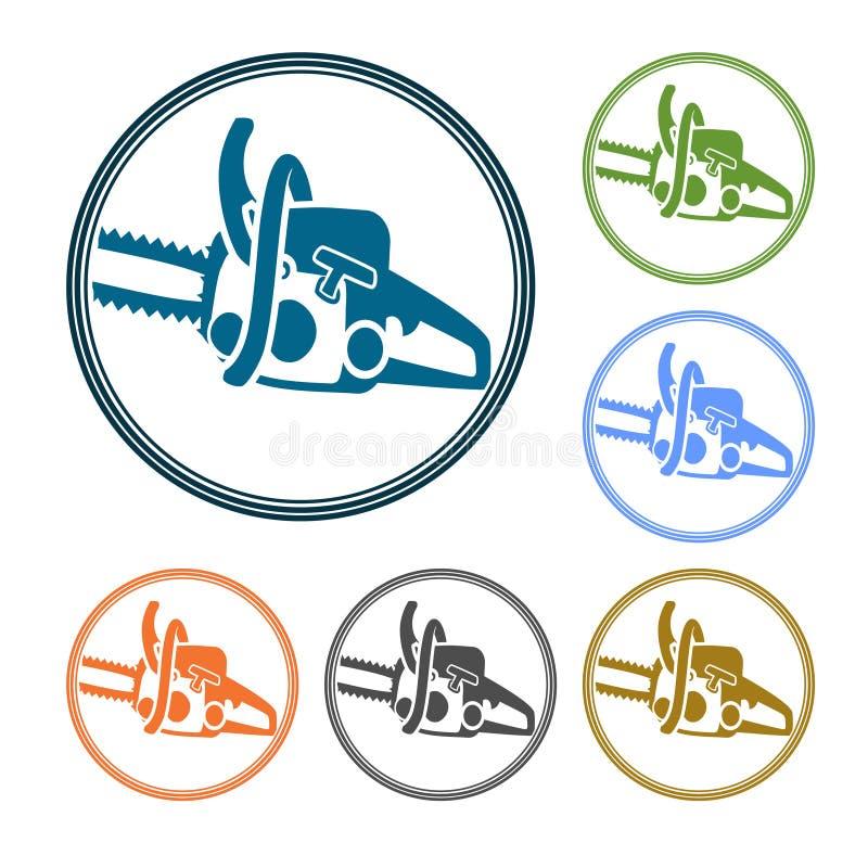 Enkel rund symbol eller logo för vektor för service som utförs av chainsawen Detaljerad kontur av chainsawdelen i en rund trippel stock illustrationer