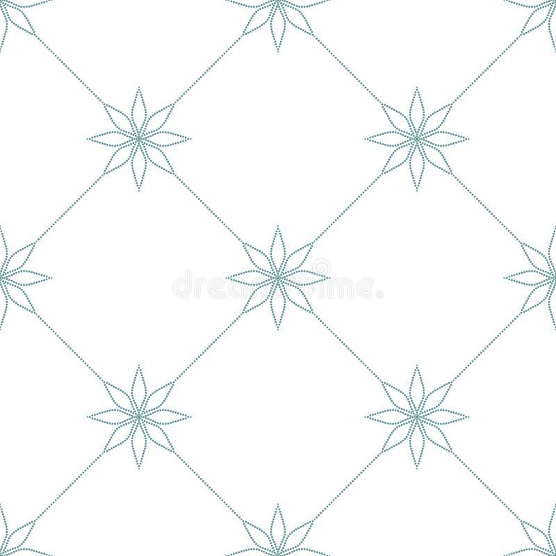 Enkel rutig prydnad med blom- beståndsdelar Blå prickig modell på vit bakgrund seamless textur vektor illustrationer