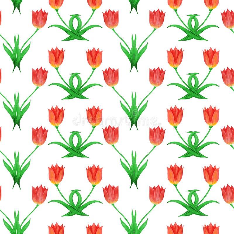 Enkel sömlös modell av tulpan som isoleras på en vit bakgrund abstrakt blom- prydnad vektor illustrationer