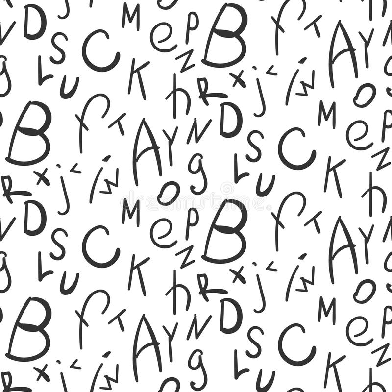 Enkel sömlös modell för alfabet på vit bakgrund stock illustrationer