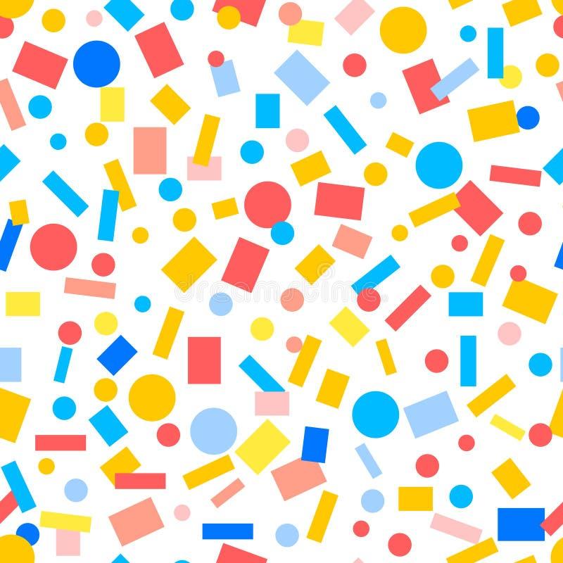 Enkel sömlös modell för färgrika pappers- konfettier, vektor vektor illustrationer
