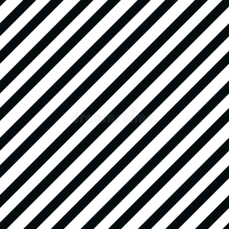 Enkel sömlös randig modell, raka diagonala linjer, svartvit textur, vektorbakgrund stock illustrationer