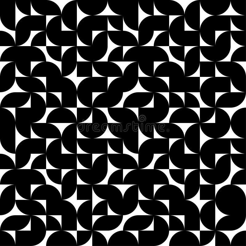 Enkel sömlös svartvit modell Geometrisk abstraktiontapet Tryck f?r textiler ocks? vektor f?r coreldrawillustration stock illustrationer