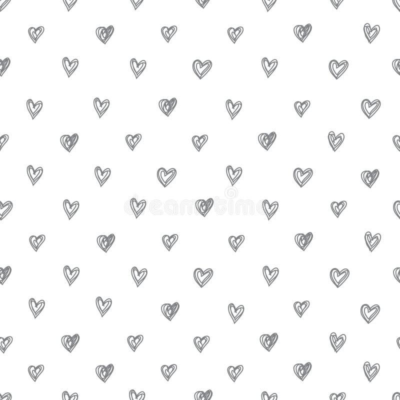 Enkel sömlös vektormodell av abstrakt begrepp hand-drog hjärtor på en vit bakgrund vektor illustrationer