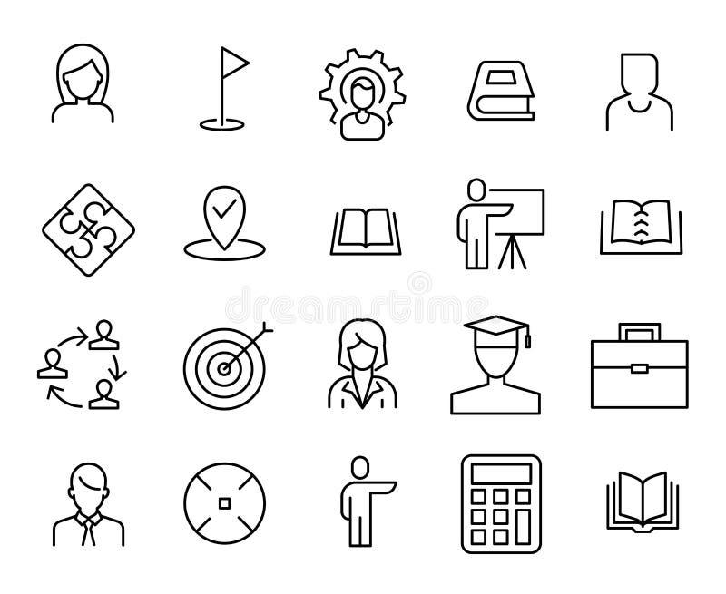 Enkel samling av att arbeta som privatlärare åt den släkta linjen symboler vektor illustrationer