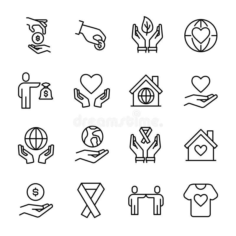 Enkel samling av att ställa upp som frivillig den släkta linjen symboler vektor illustrationer