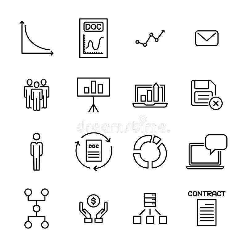 Enkel samling av den ledarskap släkta linjen symboler royaltyfri illustrationer