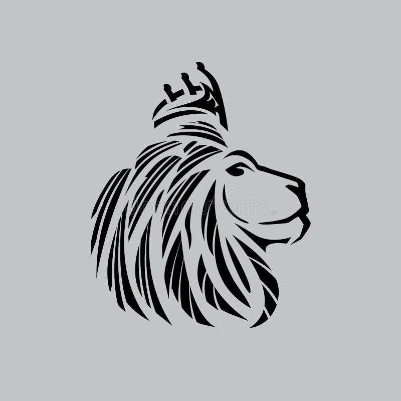 Enkel schetst de leeuw hoofdillustratie met een kroon stock illustratie