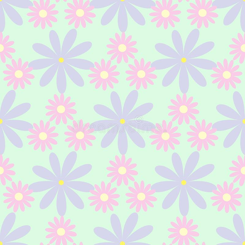 Enkel seamless modell med blommor Blom- vektorillustration royaltyfri illustrationer