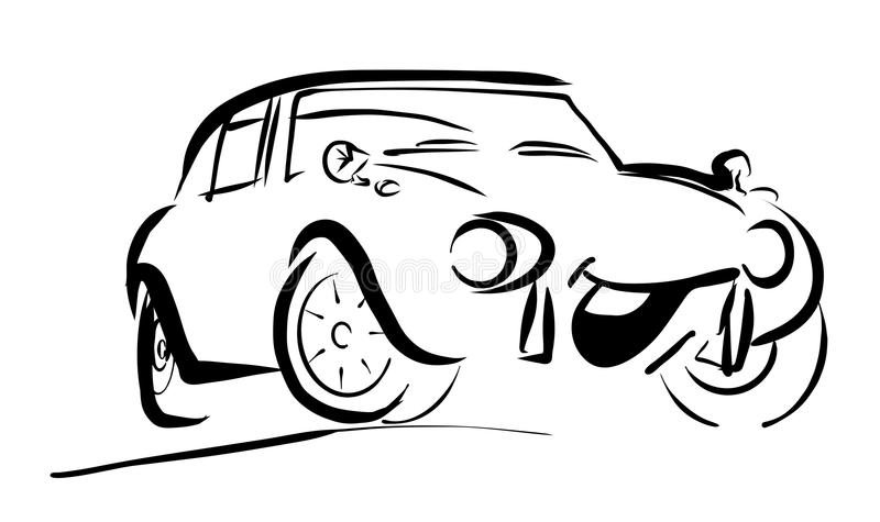 Enkel sportive le komisk bil stock illustrationer
