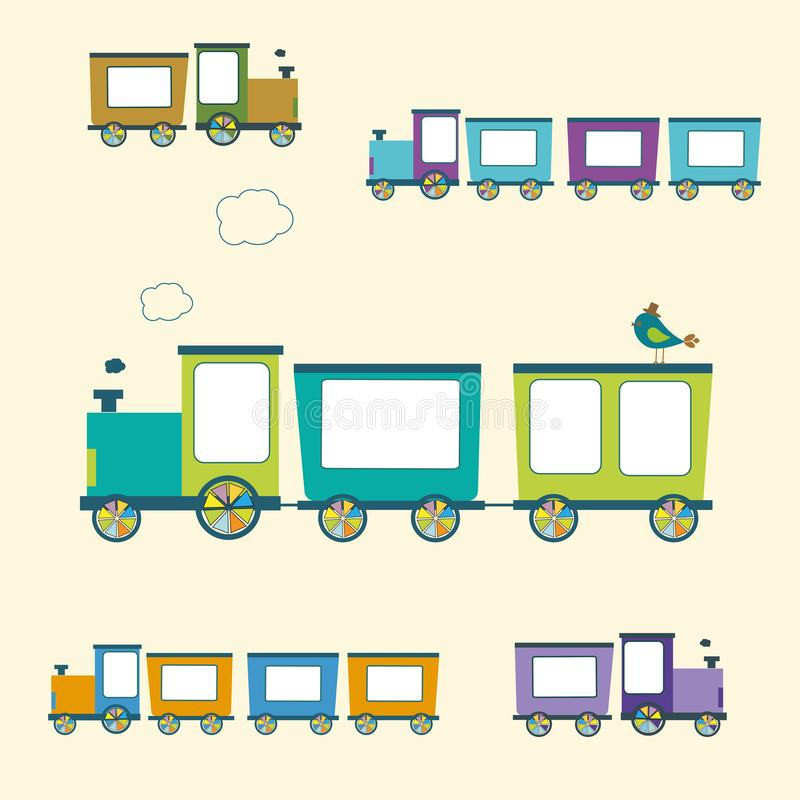 Enkel stilfärg Toy Trains och vagnuppsättning stock illustrationer