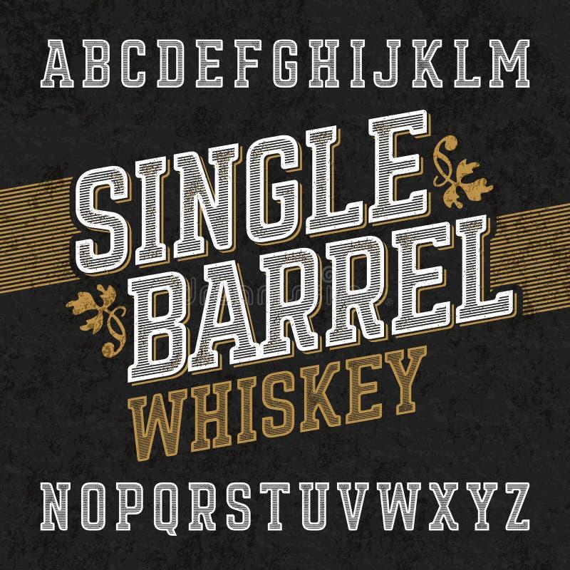 Enkel stilsort för trummawhiskyetikett med prövkopiadesign royaltyfri illustrationer