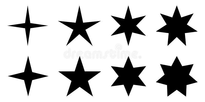 enkel stjärna 4, 5, 6 och 7 pekade version med olik två vektor illustrationer