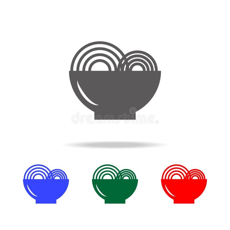 Enkel svart ätasymbol för glass Beståndsdelar av mång- kulöra symboler för mat Högvärdig kvalitets- symbol för grafisk design Enk stock illustrationer