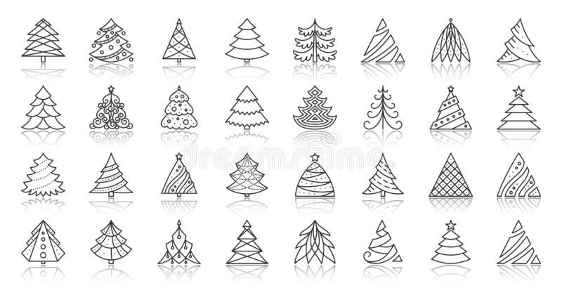 Enkel svart linje symbolsvektoruppsättning för julgran stock illustrationer