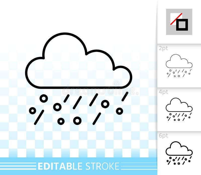 Enkel svart linje vektorsymbol för regn vektor illustrationer