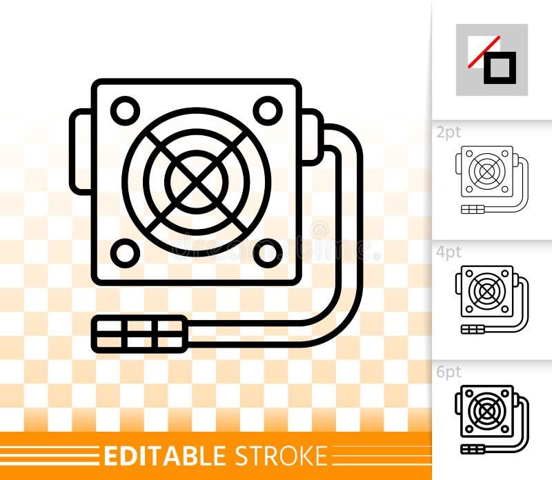 Enkel svart linje vektorsymbol för strömförsörjning royaltyfri illustrationer