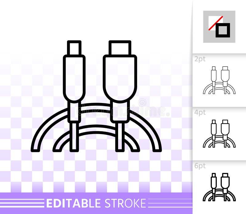Enkel svart linje vektorsymbol för Usb-kabel royaltyfri illustrationer