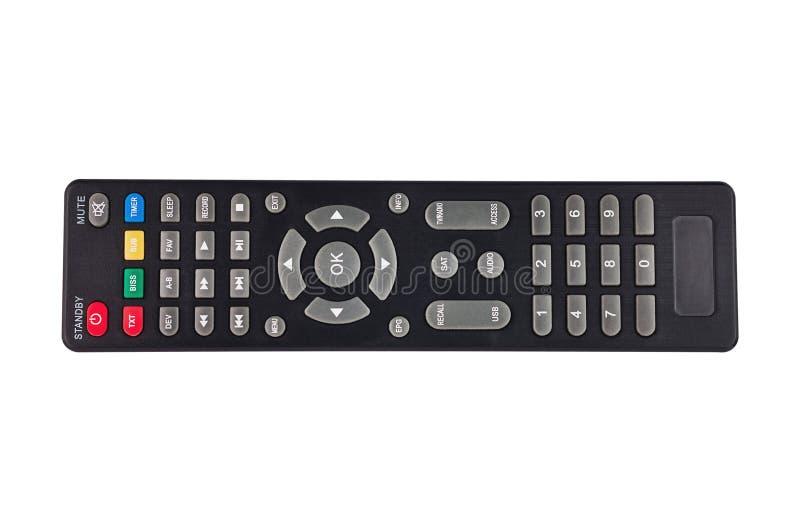 Enkel svart plast- fjärrkontroll för olika multimediaapparater som isoleras på vit bakgrund royaltyfri fotografi