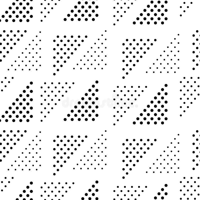 Enkel svartvit doted sömlös modell för triangelgeo, vektor royaltyfri illustrationer
