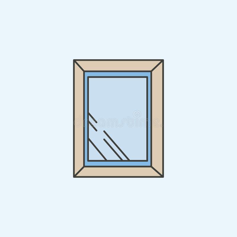 enkel symbol för badspegel Beståndsdel av symbolen för hushåll för mobila begrepps- och rengöringsdukapps Den färgade enkla symbo stock illustrationer