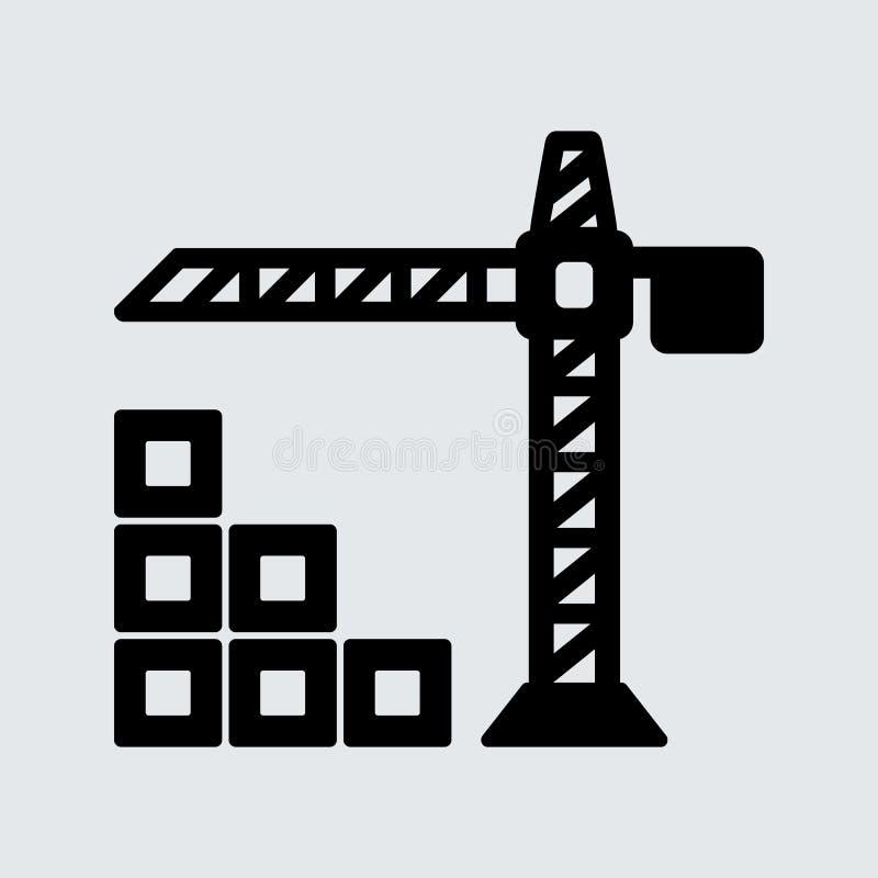 Enkel symbol för kran för torn för svartlägenhetvektor royaltyfri illustrationer
